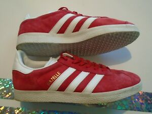 Pre-owned adidas Gazelle Women's Size 8 Red Suede Leather Shoes BA9598