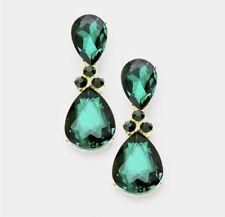 "2"" Green Emerald Gold Long Teardrop Crystal Pageant Bridal Earrings Formal"