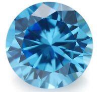 8MM 3.03CT AAAAA Natural Round Sea Blue Zircon Diamonds Cut VVS Loose Gemstone