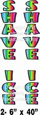 """Shave Ice Vertical Decal 40"""" Snow Cones Trailer Concession Cart Food Truck"""