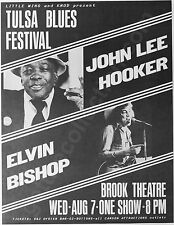 JOHN LEE HOOKER and ELVIN BISHOP 1985 concert poster at Brook Theater, Tulsa, OK