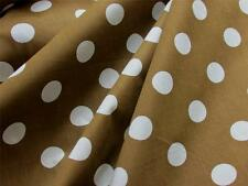 "BROWN + CREAM LARGE POLKA DOTS 60"" WIDE POLY-COTTON SEW CRAFT DECOR FABRIC BTY"