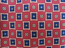 Cavenagh 100% Italian Red Silk with Square & Flowers Design Tie