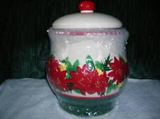 CLASSIC POINSETTIA COOKIE JAR   ( NEW )    GREAT GIFT IDEA