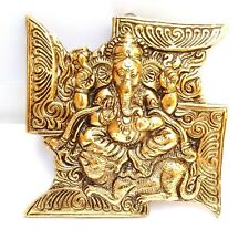 Ganesh Wall Hanging With Swastik Golden Color Mixed Metal 15.5 cm x 15.5 x 8 mm