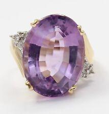14k Yellow Gold Amethyst and Diamond Ladies Ring