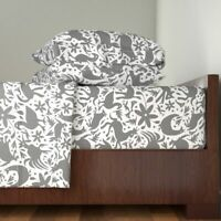 Grey Festive Otomi Otomi Otomi Nature 100% Cotton Sateen Sheet Set by Roostery