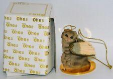 "Scottish Fold Brown Tabby Cat Figurine Ornament Angel 2"" Mini Figure Tiny Ones"