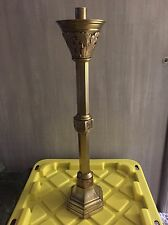 """BRASS ANTIQUE RELIGIOUS CANDLESTICK -  25"""" High - (CHURCH, RELIGIOUS, CANDLE)"""