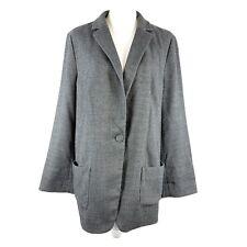 J. Jill Oversize Blazer Jacket One Button Notched Collar Gray Size L