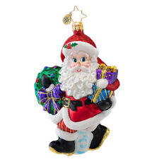 Christopher Radko - Tardy For The Party - Santa with Wreath Ornament 1017054