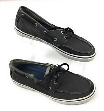 Sperry Top-Sider® Halyard Faded Black Salt Washed Canvas Boat Shoes Mens 9.5M