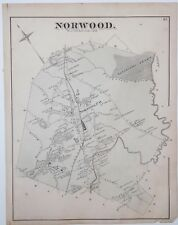 Original 1876 Map Town of Norwood Old Mass Massachusetts MA Vintage