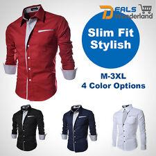 Fashion New British Men's Luxury Long Sleeve Casual Slim Fit Stylish Dress Shirt