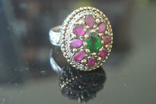 Turkish 0.75 Carat Ruby & Emerald Ottoman Victorian Style 925 Silver Size 7 Ring