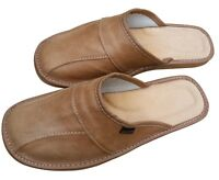 Men's Leather Slippers Brown Slip On Shoes Size 7 - 13 Summer Mules Scuff Beach