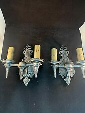 Pair of 1930s Hammered Cast Metal Wall Sconces