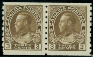 Canada  Stamps #129 coil pair 8v mnh brown 3 cent FVF