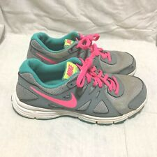 4f6eda9ceb17 NIKE REVOLUTION 2 RUNNING SHOES - GREY PINK TEAL ( SIZE 5Y ) YOUTH