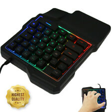 Mini One-Handed Gaming Keyboard RGB Led Backlit USB Wired Game 35 Keys Accessory