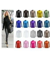 WOMENS LADIES CASUAL BASIC PLAIN LONG SLEEVE TURTLE POLO NECK TOP PLUS SIZE 8-26