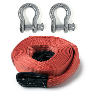 """2"""" 20,000lbs Tow Strap 20 ft w Bow Shackles winch sling snatch vehicle recovery"""