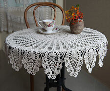 yazi White Tablecloth Hand Crochet Lace Cotton Doily Table Cloth Cover 90cm
