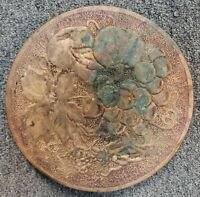Circa 1890 Chinese Brass Over Wood Fruit Motif Vase Stand
