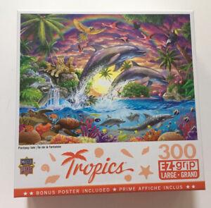 Tropics EZ Grip Jigsaw Puzzle 300 Pieces Dolphins Turtles Birds Fantasy Isle NEW