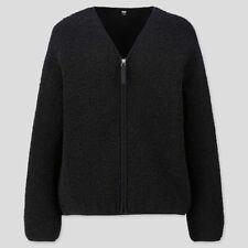 Stylish Uniqlo Black Fleece Lined V Neck Cardigan/Jacket 2019 Size XXS (8-10)