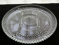 "Indiana Glass Clear Diamond Point Divided 12"" Relish Serving Platter Tray"
