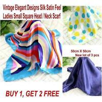 Lot 3 Pcs New Fashion Elegant Silk Satin Womens Small Square Head Neck Scarf 142