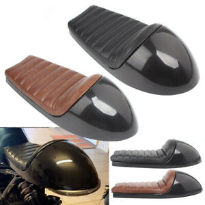 Black/Brown Retro Cafe Racer Hump Saddle Vintage Seat Cushion Pan Base Universal