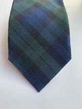 Kingsman By Drake's London 100% Silk Deep Blue & Green Tartan Tie Handmade
