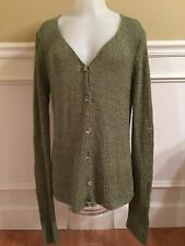 MARGARET O'LEARY SAGE GREEN CARDIGAN sz M GLASS BUTTONS V-NECK SWEATER