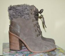 UGG JAXON MYSTERIOUS SUEDE FUR CUFF LACE UP HEEL ANKLE BOOT BOOTIES 8.5 $195