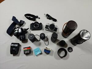 Vintage Lot of 3 Film Cameras Minolta and Canon EOS, plus Lots of Lens and Extra