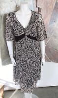 Suzi Chin For Maggy Boutique Brown White Floral Lace Sheath Dress Size 6