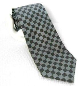 """CANALI Men's Silk Tie Micro-Check Checker Board Made Italy Blue Gold 3.75""""x 59"""""""