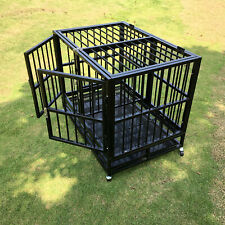 """37"""" Dog Crate Pet Playpen Kennel Metal Cage Portable W/Tray & Wheels Heavy Duty"""