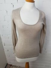 THE WHITE COMPANY - BEIGE 100% MERINO WOOL LIGHTWEIGHT JUMPER SIZE XS VGC