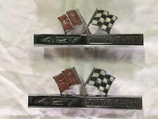 "ORIGINAL 1966-67 Corvette ""427 Turbo-Jet"" fender emblems & speed nuts # 3876425"