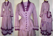 Victorian Purple White Checkered Plaid Gingham Silk Reception Gown Bustle Dress