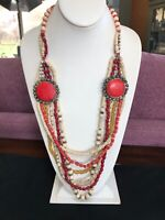 """Vintage Gold Tone Bohemian Beaded Multi Strand Chunky Necklace 30"""" Res White"""