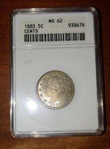 1883 Liberty V Nickel with Cents Anacs MS-62