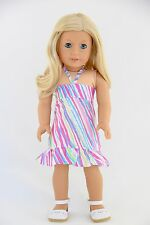 Summer Sundress Multicolor American Made Doll Clothes For 18 inch Girls Dolls
