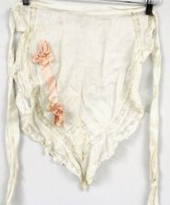 Antique Victorian Apron w Pink Silk Ribbon Applique White Embroidery Peg Hanger