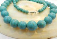 "6-14mm Blue Turkey Turquoise Gems Round Beads Necklace 18"" JN118"