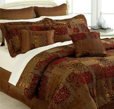 Croscill Home Galleria Pair King Pillow Shams Red Gold Brown