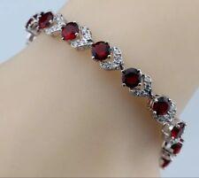 """925 Sterling Silver  Red Garnet  & White Topaz Tennis  Overlay Bracelet  7-8"""""""